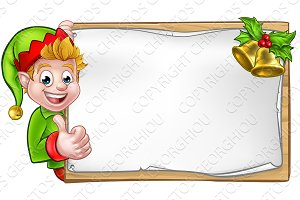 Christmas Sign Santa Helper Elf Thumbs Up