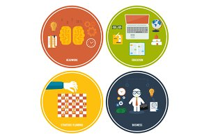 Icons for education, headwork