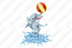 Cartoon Splashing Dolphin Playing with Ball