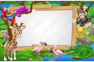 Cartoon Safari Animals Sign