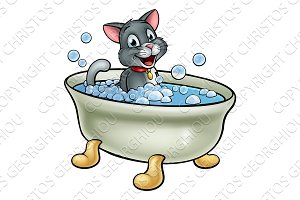 Cartoon Cat Washing in the Bath