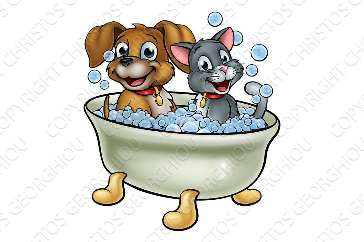 Cartoon Cat And Dog Washing In Bath Pre Designed Illustrator Graphics Creative Market