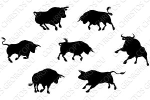 Detailed Bull Silhouettes
