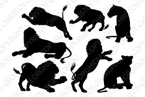 Silhouette Lions