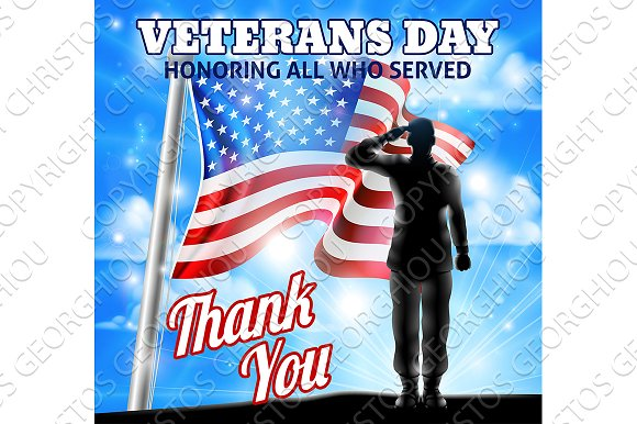 Veterans Day Silhouette Soldier Saluting American Flag