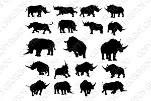 Rhino Animal Silhouettes
