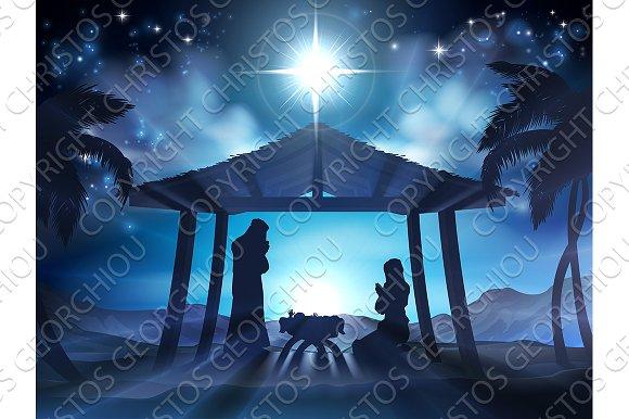 Manger Nativity Christmas Scene