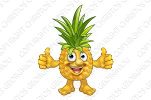 Cartoon Fruit Pineapple Mascot Character