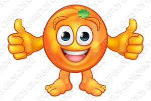 Orange Fruit Mascot Cartoon Character