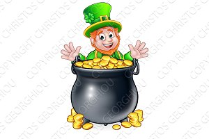 Pot of Gold Saint Patricks Day Leprechaun