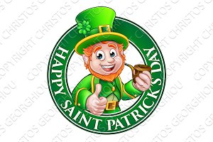 Saint Patricks Day Cartoon Leprechaun Sign