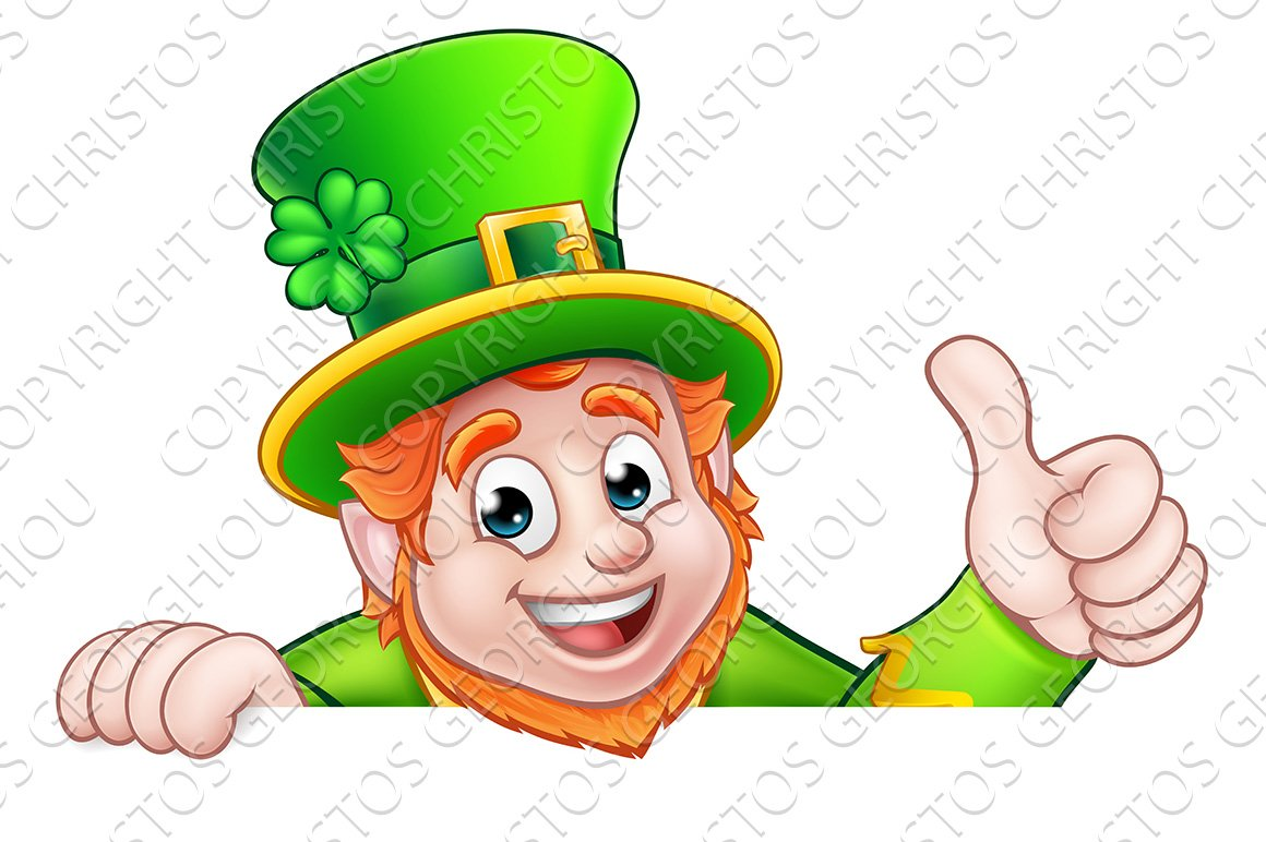 Cartoon St Patricks Day Leprechaun Top of Sign ~ Graphic ...