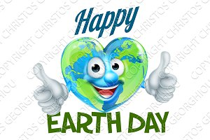 Happy Earth Day Heart Globe Mascot Design