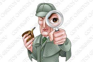 Sherlock Holmes Detective Cartoon