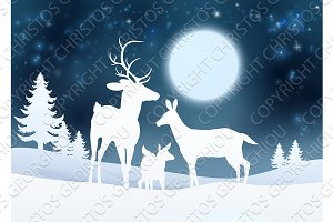 Deer Winter Scene Background