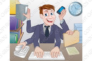 Multitasking Business Man Cartoon