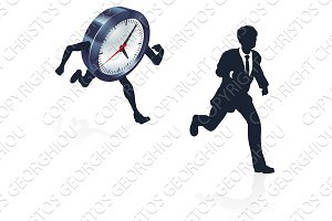 Clock Race Business Man Concept