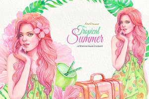 Tropical Summer Watercolor Clipart