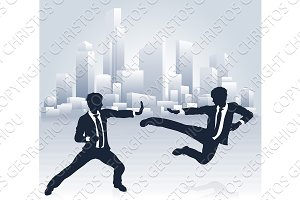 Business People Kung Fu Fighting