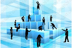 Building Blocks Business Team People Silhouettes