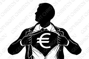 Euro Business Man Superhero Tearing Shirt Chest