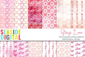 Spring Love Seamless Patterns