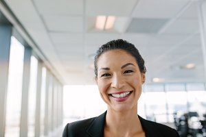 Businesswoman with big smile
