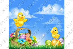 Chicks and Easter Eggs Basket Scene