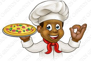 Cartoon Black Pizza Chef