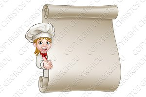 Cartoon Woman Chef Menu Scroll
