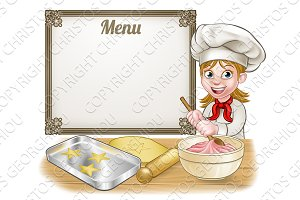 Woman Baker or Pastry Chef Menu Sign