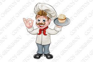Baker Holding Cake Cartoon Mascot