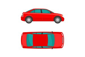 Car. View top and side. Flat styled vector illustration. Isolated on white background.