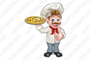 Pizza Chef Cartoon Character
