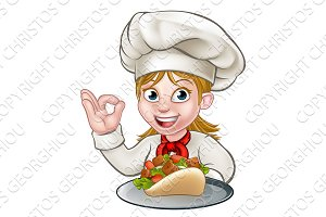 Chef Woman with Kebab