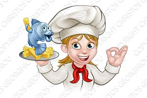 Fish and Chips Woman Chef