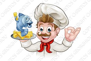 Fish and Chips Cartoon Chef