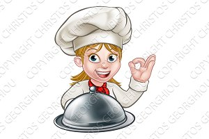 Chef Woman Cartoon Character Mascot