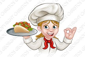 Cartoon Woman Kebab Chef