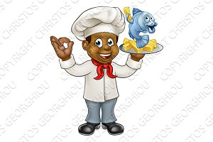 Cartoon Black Chef Fish and Chips