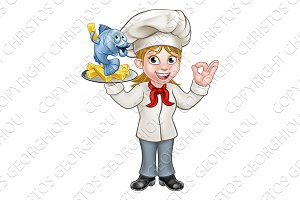 Cartoon Chef Fish and Chips Woman