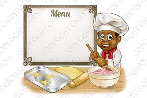 Black Baker or Pastry Chef Menu Sign