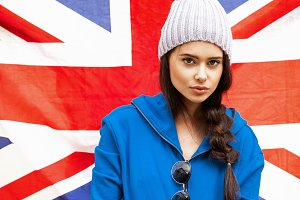 girl with Union Jack flag