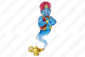 Friendly Cartoon Pointing Genie