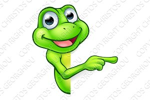 Pointing Cartoon Frog