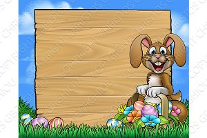Easter Sign Bunny Eggs Background