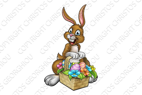 Easter Bunny Holding Egg Hunt Basket Ilrations