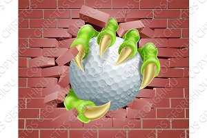 Claw with Golf Ball Breaking Through Brick Wall