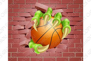 Claw with Basket Ball Breaking Through Brick Wall