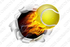 Flaming Tennis Ball Tearing a Hole in the Background
